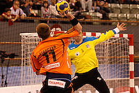 25.03.2012 MADRID, SPAIN -  EHF Champions League match played between BM At. Madrid vs Kadetten Schaffhausen (26-30) at Palacio Vistalegre stadium. the picture show Leszek Starczan (Kadetten Schaffhausen player)
