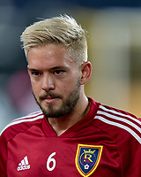 FOXBOROUGH, MA - SEPTEMBER 21: Kelyn Rowe #6 of Real Salt Lake during a game between Real Salt Lake and New England Revolution at Gillette Stadium on September 21, 2019 in Foxborough, Massachusetts.