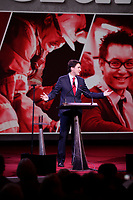 April 20 , 2014 - The Leader of the Liberal Party of Canada, Justin Trudeau, deliver a speech to delegates at the opening of the Liberal Biennial Convention in Montreal.<br /> <br /> Le chef du Parti libéral du Canada, Justin Trudeau, s'adresse aux delegue(e)s pour ouvrir le Congres biennal liberal à Montreal,  Jeudi 20 février 2014.<br /> <br /> Photo : (c) Pierre Roussel - Images Distribution