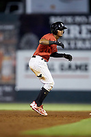 Lenyn Sosa (2) of the Kannapolis Intimidators takes his lead off of second base against the Rome Braves at Kannapolis Intimidators Stadium on July 2, 2019 in Kannapolis, North Carolina.  The Intimidators walked-off the Braves 5-4. (Brian Westerholt/Four Seam Images)