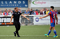 Crystal Palace Manager, Frank De Boer offers a hand to Palace No 5, Nick Tavares at the end of the match during Maidstone United vs Crystal Palace, Friendly Match Football at the Gallagher Stadium on 15th July 2017