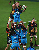 Steven Luatua of the Blues takes a lineout during the Super Rugby Match between the Blues and the Chiefs at Eden Park in Auckland, New Zealand on Friday 26  May 2017. Photo: Simon Watts / www.lintottphoto.co.nz