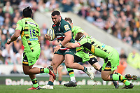 Ellis Genge of Leicester Tigers takes on the Northampton Saints defence. Aviva Premiership match, between Leicester Tigers and Northampton Saints on April 14, 2018 at Welford Road in Leicester, England. Photo by: Patrick Khachfe / JMP