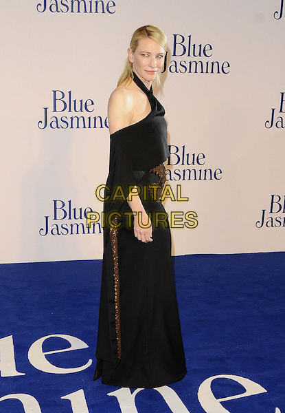 Cate Blanchett<br /> The &quot;Blue Jasmine&quot; UK film premiere, Odeon West End cinema, Leicester Square, London, England.<br /> September 17th, 2013<br /> full length black dress off the shoulder cape gold bronze embroidered side <br /> CAP/CAN<br /> &copy;Can Nguyen/Capital Pictures