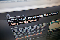 The Reddit website is seen on Wednesday, January 18, 2012 during their protest over the legislation in Congress concerning online piracy. Reddit and other websites are protesting for 24 hours the proposed Stop Online Piracy Act (SOPA) and the Protect IP Act (PIPA) which they feel will allow US authorities to shutdown websites that are accused of online piracy without due process and threatens the freedom of the internet. (© Richard B. Levine)