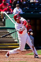 Ryan Jackson (23) of the Springfield Cardinals swings at a pitch during a game against the Springfield Cardinals on April 16, 2011 at Hammons Field in Springfield, Missouri.  Photo By David Welker/Four Seam Images.
