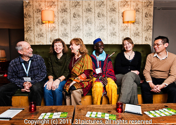 The Netherlands, Amsterdam, 21 November 2011. The International Documentary Film Festival Amsterdam 2011. Portrait Jury members IDFA Competition for Feature-Length Documentary. From left; Sandy Lieberson, Laila Pakalnina, Rada Sesic (IDFA Staff), Moussa Sene Absa, Suzanne Raes, Dennis Lim. Photo: 31pictures.nl / (c) 2011, www.31pictures.nl