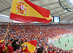 19 June 2006: Spain fans cheer while the starting lineups are announced. Spain played Tunisia at the Gottlieb-Daimler Stadion in Stuttgart, Germany in match 31, a Group H first round game, of the 2006 FIFA World Cup.