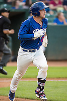 Jake Henson (27) of the Ogden Raptors runs down the first base line against the Helena Brewers in Pioneer League action at Lindquist Field on August 19, 2015 in Ogden, Utah.  Ogden defeated Helena 4-2. (Stephen Smith/Four Seam Images)