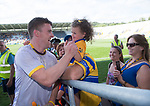 Tony Kelly of Clare greets young Clare fan Muireann Mc Mahon of Ennis following their All-Ireland quarter final at Pairc Ui Chaoimh. Photograph by John Kelly.