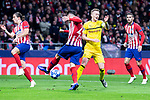 Atletico de Madrid Filipe Luis, Jose Maria Gimenez and Lucas Hernandez and Borussia Dortmund Marco Reus during group stage of UEFA Champions League match between Atletico de Madrid and Borussia Dortmund at Wanda Metropolitano in Madrid, Spain.November 06, 2018. (ALTERPHOTOS/Borja B.Hojas)