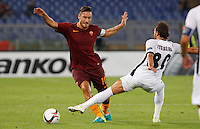 Calcio, Europa League: Roma vs Astra Giurgiu. Roma, stadio Olimpico, 29 settembre 2016.<br /> Roma&rsquo;s Francesco Totti, left, is fouled by Astra Giurgiu&rsquo;s Filipe Teixeira during the Europa League Group E soccer match between Roma and Astra Giurgiu at Rome's Olympic stadium, 29 September 2016. Roma won 4-0.<br /> UPDATE IMAGES PRESS/Riccardo De Luca