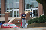 Walking past the Union.  Photo by Kevin Bain/University Communications Photography