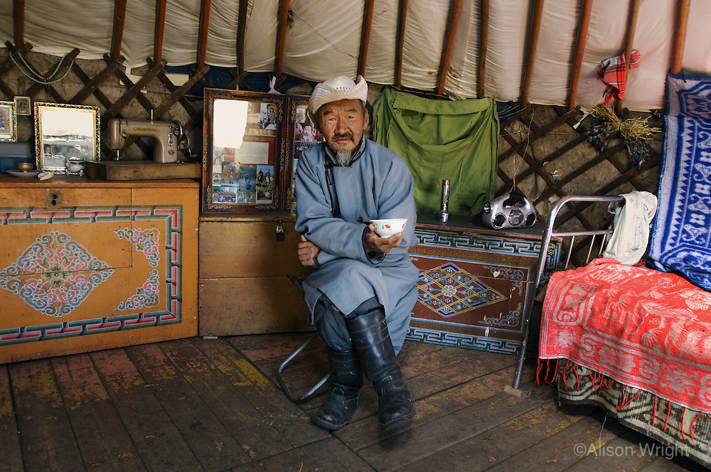Batnasan, Nomad man in his yurt.