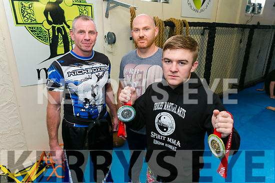 Tralee Martial Arts Member Dion O'Keeffe won gold and silver at the recent World Championships in Dublin here with Trainers Mike Allen and Brian Sheehy