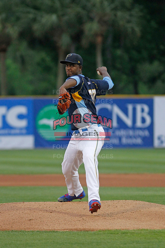 Myrtle Beach Pelicans pitcher Oscar De La Cruz (37) on the mound during a game against the Wilmington Blue Rocks at Ticketreturn Field at Pelicans Ballpark on April 25, 2017 in Myrtle Beach, South Carolina. Myrtle Beach defeated Wilmington 7-6. (Robert Gurganus/Four Seam Images)