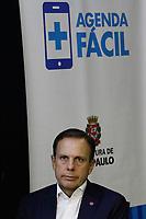 SÃO PAULO, SP, 26.03.2018: PREFEITURA-SP - O prefeito João Doria (PSDB), durante coletiva de imprensa sobre o aplicativo Agenda Fácil, na sede da prefeitura, região central, nesta segunda-feira (26). O aplicativo disponível em todas as 459 Unidades Básicas de Saúde (UBS) da cidade, é possível agendar consultas e exames pelo telefone celular. (Foto: Fábio Vieira/FotoRua)