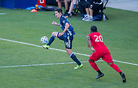 CARSON, CA - FEBRUARY 15: Sacha Kljestan #16 of the Los Angeles Galaxy traps a ball during a game between Toronto FC and Los Angeles Galaxy at Dignity Health Sports Park on February 15, 2020 in Carson, California.