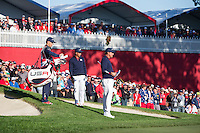 Richie Fowler and Phil Mickelson (Team USA) on the 8th during the Saturday morning Foursomes at the Ryder Cup, Hazeltine national Golf Club, Chaska, Minnesota, USA.  01/10/2016<br /> Picture: Golffile | Fran Caffrey<br /> <br /> <br /> All photo usage must carry mandatory copyright credit (&copy; Golffile | Fran Caffrey)