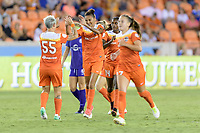 Houston, TX - Saturday June 17, 2017: Poliana celebrates her goal with her teammates during a regular season National Women's Soccer League (NWSL) match between the Houston Dash and the Orlando Pride at BBVA Compass Stadium.