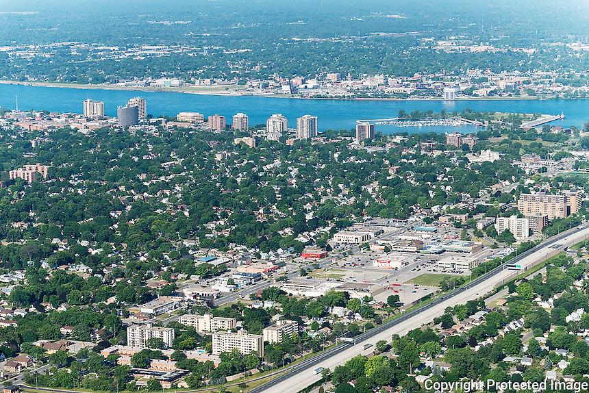 Northgate Plaza and Exmouth Street business area. Sarnia downtown skyline and Sarnia Bay Marina, Sarnia, Ontario.
