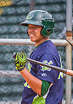 16 June 2014: Vermont Lake Monsters infielder Yairo Munoz awaits his turn in the batting cage prior to a game against the Connecticut Tigers at Centennial Field in Burlington, Vermont. The Lake Monsters fell to the Tigers 3-2 in NY Penn League action. Mandatory Credit: Ed Wolfstein Photo *** RAW Image File Available ****