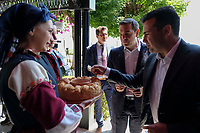 Pictured: Greek Prime Minister Alexis Tsipras (2nd R) with his counterpart Zoran Zaevat (R) try local delicacies at Prespa Lake in northern Greece. Sunday 17 June 2018<br /> Re: Greece and the Former Yugoslav Republic Of Macedonia (FYROM) have signed a deal that aims to settle a decades-long dispute over the country's name.<br /> Under the agreement, Greece's neighbour will be known as North Macedonia.<br /> Heated rows over Macedonia's name have been going on since the break-up of the former Yugoslavia, of which it was a part, and have held up Macedonia's entry to Nato and the EU.<br /> Greece has long argued that by using the name Macedonia, its neighbour was implying it had a claim on the northern Greek province also called Macedonia.<br /> The two countries' leaders, Mr Tsipras and his Macedonian counterpart Zoran Zaev announced the deal on Tuesday and have pressed ahead despite protests.<br /> The two countries' foreign ministers signed the deal on Lake Prespa on Greece's northern border on Sunday.<br /> The agreement still needs to be approved by both parliaments and by a referendum in Macedonia.