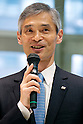 "Hitoshi Tokuda, Manager of Marketing for Toshiba's business development division speaks to the members of the press during the first work day of the Robot Aiko Chihira as a receptionist at the Nihonbashi Mitsukoshi department store on April 20, 2015, Tokyo, Japan. The robot is being employed for two days to share information with customers about store events and the food court, on April 20th and 21st. From April 22nd the robot will be on show at a ""Play the future with Toshiba"" exhibition held in the store showing how new technology may change future life-style and future department stores. (Photo by Rodrigo Reyes Marin/AFLO)"