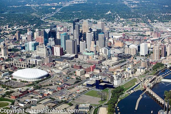 aerial above Minneapolis MN Minnesota skyline