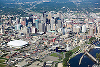 aerial above Minneapolis MN Minnesota skyline