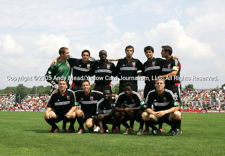 DC United's starters, featuring 2005 Hall of Fame inductee John Harkes (back row, right), pose for a photo on Monday, August 29, 2005, before the Hall of Fame game played after the 2005 National Soccer Hall of Fame Induction Ceremony in Oneonta, New York. The Colorado Rapids defeated DC United 6-2.