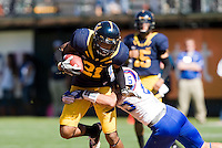 September 17, 2011:  California's Keenan Allen tries to break the tackle away from Presbyterian's defender during a game at AT&T Park, San Francisco, Ca     California Defeated Presbyterian 63 - 12