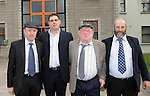 21-3-2011: Third generation politiican Johnny Healy-Rae made history when he was co-opted to Kerry County Council on Monday suceeding his uncle Michael who was elected to the Dail and joining his father Danny on the council.  Johnny will represent Killorglin in the South Kerry consitiuency while his father Danny will represent the Killarney area.  Johnny takes the seat first won by his grandfather Jackie in 1973 and the seat has remained in the family for 38 years. A batchelor,  Johnny lives at home with his father Danny and mother Eileen over the pub bearing his grandfather's name in Kilgarvan. Photo shows Johnny arriving at Kerry County Council with his uncle Michael, his grandad Jackie and his dad Danny on Monday morning.<br /> Picture by Don MacMonagle