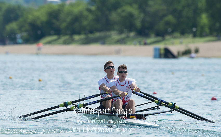 Belgrade, SERBIA,  GBR LM2X, Bow William FLECTHER and Jamie KIRKWOOD at the 2014 FISA European Rowing Championships. Lake Sava. <br /> <br /> <br /> 10:15:10  Friday  30/05/2014<br /> <br /> [Mandatory Credit; Peter Spurrier/Intersport-images]