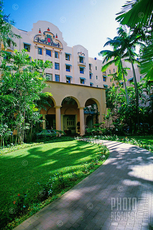 Entry way to the historic Royal Hawaiian Hotel in Waikiki
