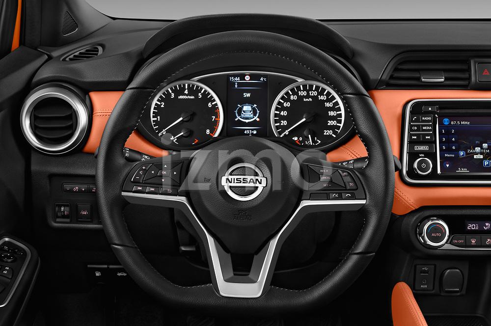 Car pictures of steering wheel view of a 2017 Nissan Micra Tekna 5 Door Hatchback Steering Wheel