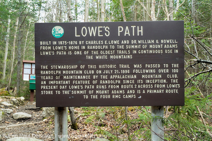 Lowe's Path in the Presidential Range of the White Mountain National Forest of New Hampshire USA during the spring months.