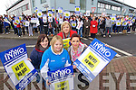 Student Nurses Niamh Sheehan, Tousist, Ciara O'Sullivan, Dromthacker and Aishling Walsh, Ballylngford with Shiela Dickson, President of the Irish nurses and midwives Organisation Protesting against cutting off payment for forth year nursing students at Kerry General Hospital on Wednesday.