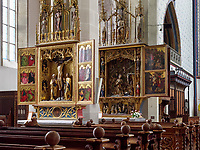 Altar des hlg. Kreuzez und Altar der Geburt des Herrn, gotische Kirche St. &Auml;gidius-bazilika sv.Egidia, Bardejov, Presovsky kraj, Slowakei, Europa, UNESCO-Weltkulturerbe<br /> Altar of the holy croos, Altar of the birth of the Lord in gothic church St. &Auml;gidius-bazilika sv.Egidia, Bardejov, Presovsky kraj, Slovakia, Europe, UNESCO-world heritage