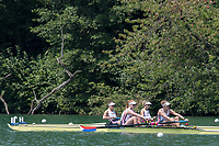 """Lucerne, SWITZERLAND, 14th July 2018, Saturday, """"Women's Pair"""", Repechage 1,"""" USA2 W2-, Bow, """"Kristine O'BRIEN"""" and """"Felice MUELLER"""", """"USA1., W2-, """"Erin REELICK"""" and """"Molly BRUGGEMAN"""", FISA World Cup III Lake Rotsee, © Peter SPURRIER,"""