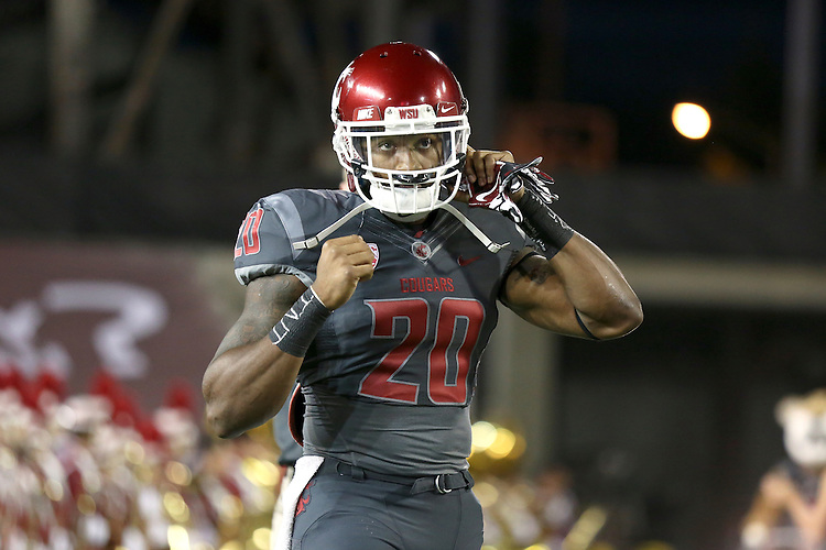 Deone Bucannon prepares for the start of the battle of the Palouse between the Washington State Cougars and the Idaho Vandals at Martin Stadium in Pullman, Washington, on September 21, 2013.  WSU dominated their neighbors to the east, winning in a route, 42-0.