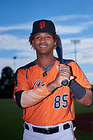 AZL Giants Orange outfielder Ismael Alcantara (85) poses for a photo before an Arizona League game against the AZL Giants Black on July 19, 2019 at the San Francisco Giants Baseball Complex in Scottsdale, Arizona. The AZL Giants Black defeated the AZL Giants Orange 8-5. (Zachary Lucy/Four Seam Images)