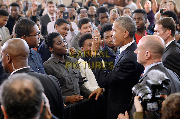 United States President Barack Obama greets students during a visit to Benjamin Banneker Academic High School to speak about the progress that has been made by his administration over the last eight years to improve education across the country on October 17, 2016 in Washington, DC. <br /> CAP/MPI/ Pool/ CNP/OD<br /> &copy;OD/CNP/Pool/MPI/Capital Pictures