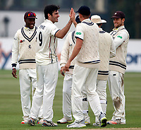 Grant Stewart enjoys a high five after taking the wicket of Higgins during the County Championship Division 2 game between Kent and Gloucestershire at the St Lawrence Ground, Canterbury, on Fri 13 Apr, 2018.