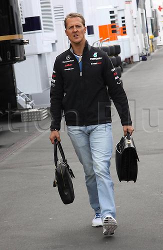 21 07 2011 Formula 1 GP Germany Nuerburgring  Michael Schumacher Mercedes MGP arrives for the preparation day
