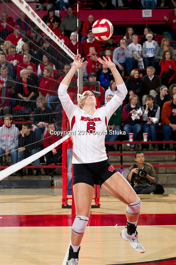 Wisconsin Badgers Janelle Gabrielsen (6) during an NCAA women's college volleyball game against the Ohio State Buckeyes on November 4, 2011. The Buckeyes won 3-1. (Photo by David Stluka)