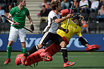 NED - Amsterdam, Netherlands, August 20: During the men Pool B group match between Germany (white) and Ireland (green) at the Rabo EuroHockey Championships 2017 August 20, 2017 at Wagener Stadium in Amsterdam, Netherlands. Final score 1-1. (Photo by Dirk Markgraf / www.265-images.com) *** Local caption *** Benedikt Fuerk #24 of Germany, David Harte #1 of Ireland