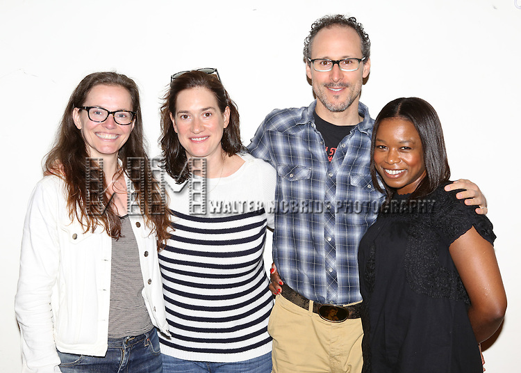 """Colleen Werthmann, Jennifer R. Morris, Gibson Frazier and Quincy Tyler Bernstine attending the Meet & Greet for the Playwrights Horizons New York Premiere Production of """"Mr. Burns, A Post Electric Play"""" at their Rehearsal Hall on July 246, 2013 in New York City."""