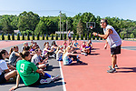 SOUTHBURY, CT. 13 July 2019-071319 - Former Post University and University of Alaska coach Al Sokaitis talks to a group of young girls as he conducts an basketball clinic for girls, at Community House Park in Southbury on Saturday. Bill Shettle Republican-American
