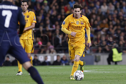 05.04.2016 Nou Camp, Barcelona, Spain.  Uefa Champions League Quarter-finals 1st leg. FC Barcelona against Atletico de Madrid. Leo Messi attacks the box